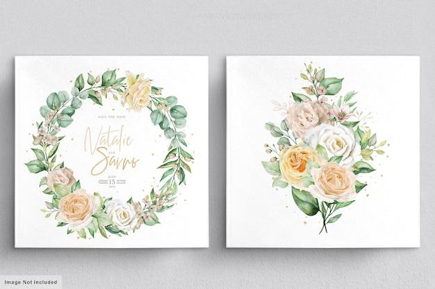 エレガントな水彩画の手描きの花の花輪と花束のセット