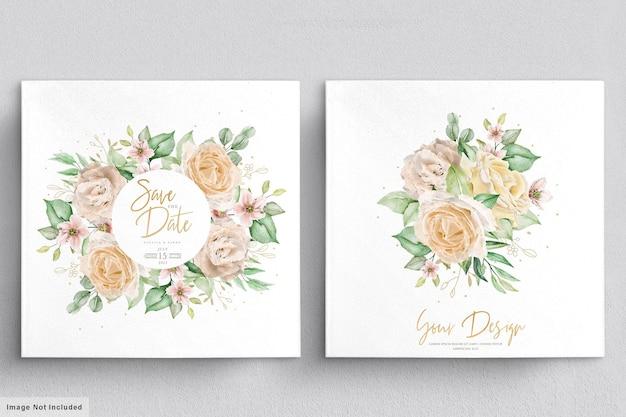 Set di mazzi e corone floreali disegnati a mano dell'acquerello elegante