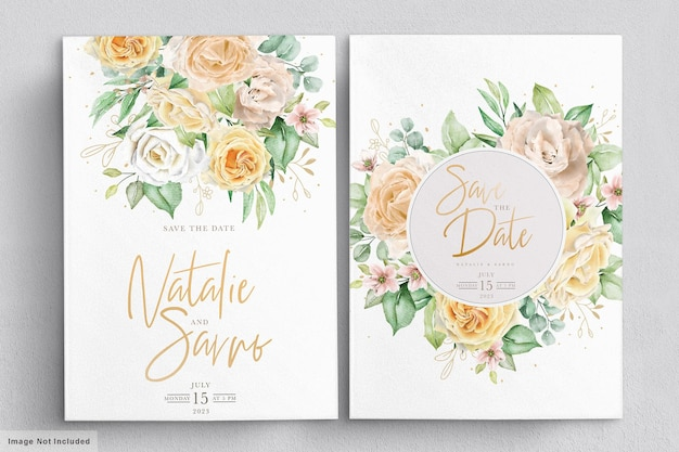 Elegant watercolor hand drawn floral wreaths and bouquets set