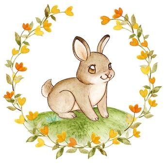 Элегантный акварельный заяц в цветочном венке