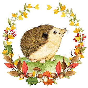 Elegant watercolor hedgehog in a fall woodland wreath