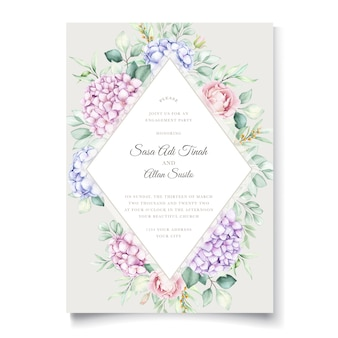 エレガントな水彩画のアジサイの花の結婚式の招待カードセット