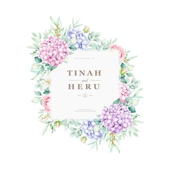 Set di carte invito matrimonio floreale elegante ortensia acquerello