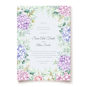 Elegant watercolor hydrangea floral wedding invitation card set