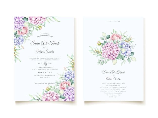 Элегантная акварель гортензия цветочные свадебные приглашения набор карт