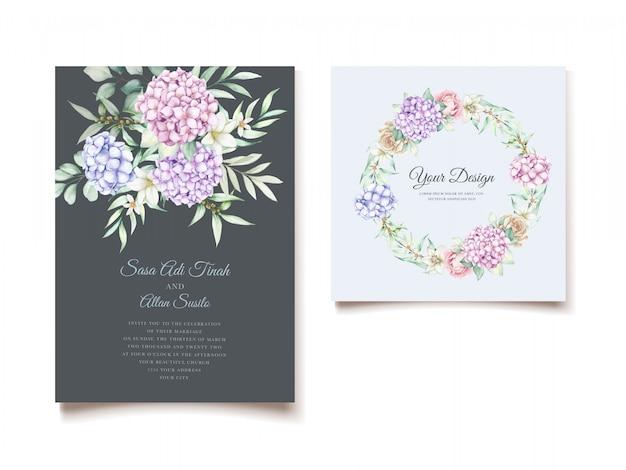 Elegant watercolor hydrangea floral wedding invitation card set