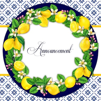 Elegant watercolor lemon wreath with mediterranean pattern background