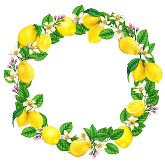 Elegant watercolor lemon wreath