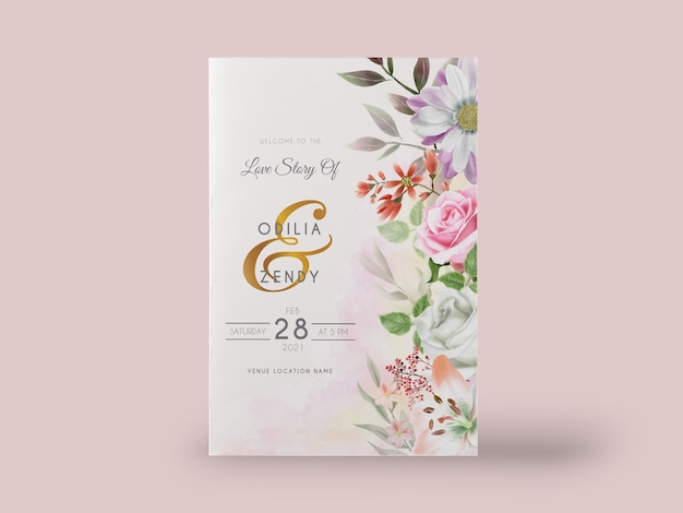 Elegant watercolor lily and rose wedding invitation card set