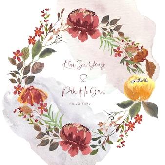 エレガントな水彩画の栗色の花の花輪