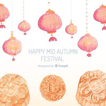 Elegant watercolor mid autumn festival background