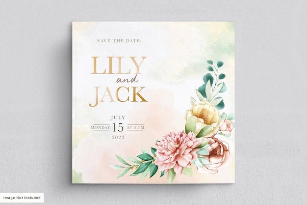 Set di carte invito matrimonio elegante peonie acquerello