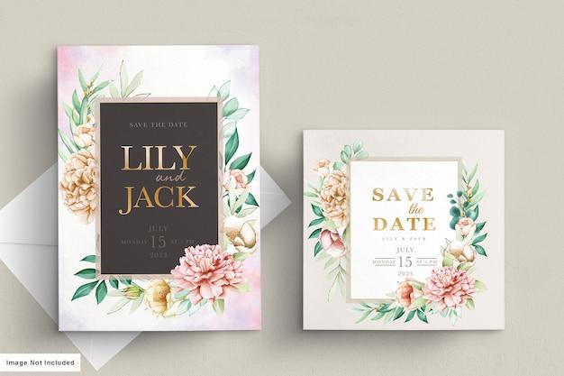 Элегантные акварельные пионы свадебные приглашения набор карт