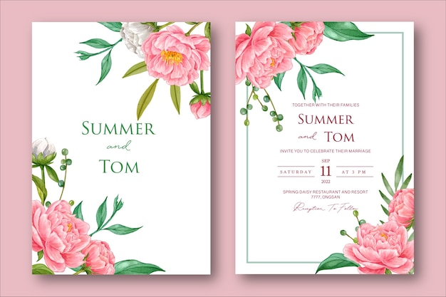Элегантный акварельный пион цветок свадебное приглашение шаблон