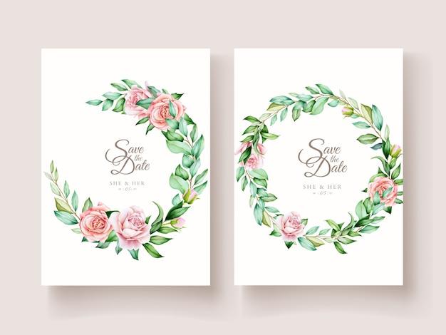 Элегантные акварельные розы пригласительный билет