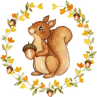 Elegant watercolor squirrel in a yellow flowers wreath