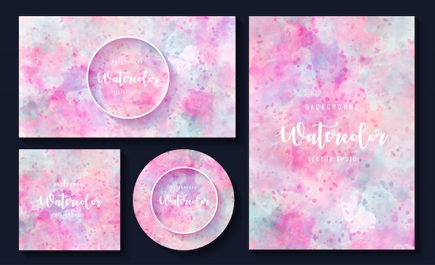 Elegant watercolor texture background template set