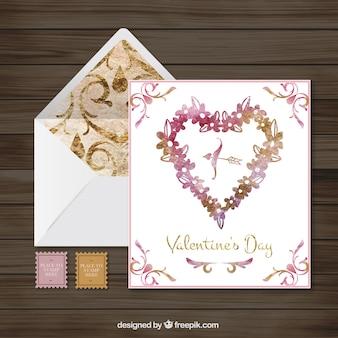 エレガントな水彩バレンタインカードと封筒