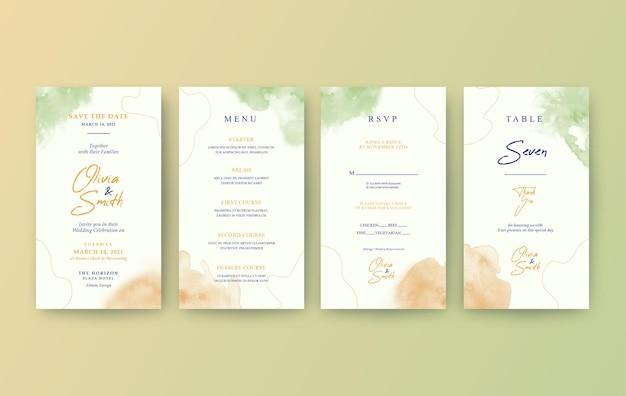 Elegant watercolor vertical wedding invitation