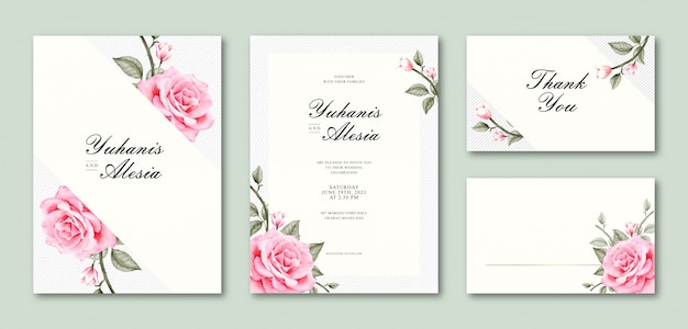 Elegant watercolor wedding card set template