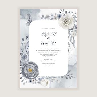 ネイビーブルーと白の花とエレガントな水彩画のウェディングカード