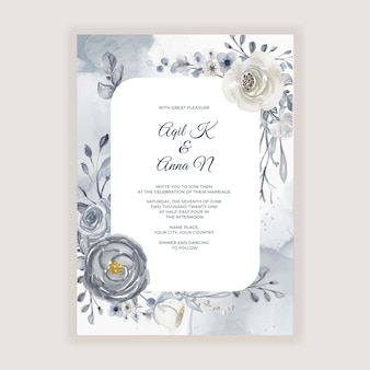 Elegant watercolor wedding card with navy blue and white flowers