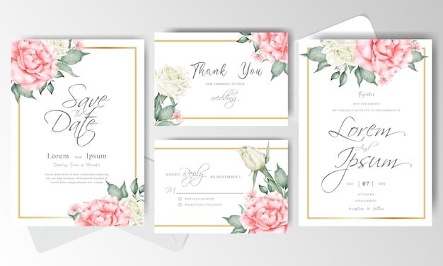 우아한 수채화 결혼식 초대 카드 세트 템플릿