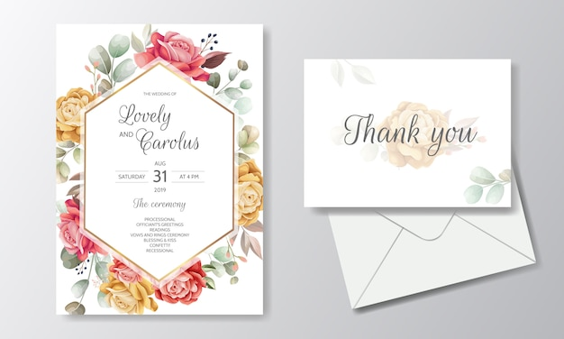 Elegant watercolor wedding invitation card template set with beautiful floral and leaves
