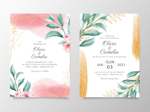 Elegant watercolor wedding invitation card template set with floral decoration and gold glitter.