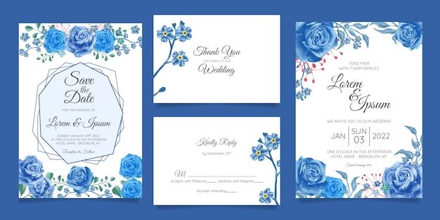 Elegant watercolor wedding invitation card template set with floral decoration