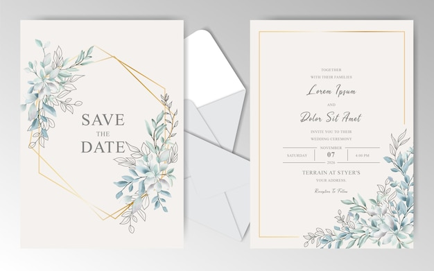 Elegant watercolor wedding invitation card with beautiful leaves