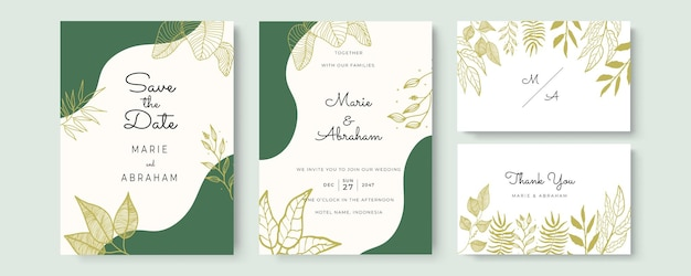 黄金の葉とエレガントな水彩画の結婚式の招待カード