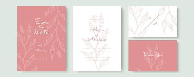 Элегантный акварельный свадебный пригласительный билет с розовыми листьями