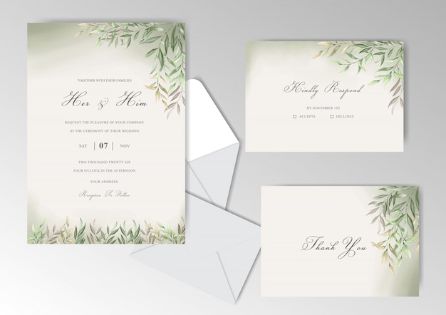 Elegant watercolor wedding invitation cards set template with beautiful leaves