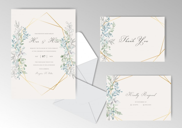 Elegant watercolor wedding invitation cards set with beautiful leaves