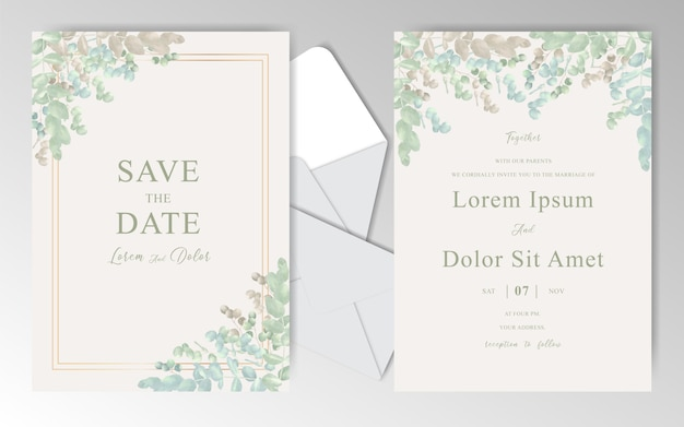 Elegant watercolor wedding invitation cards template with beautiful eucalyptus