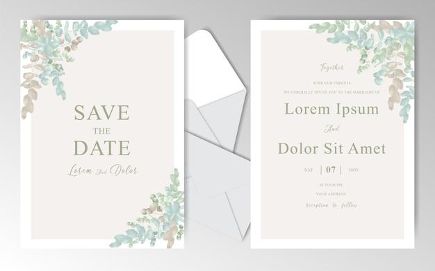 美しいユーカリとエレガントな水彩結婚式招待状カードテンプレート