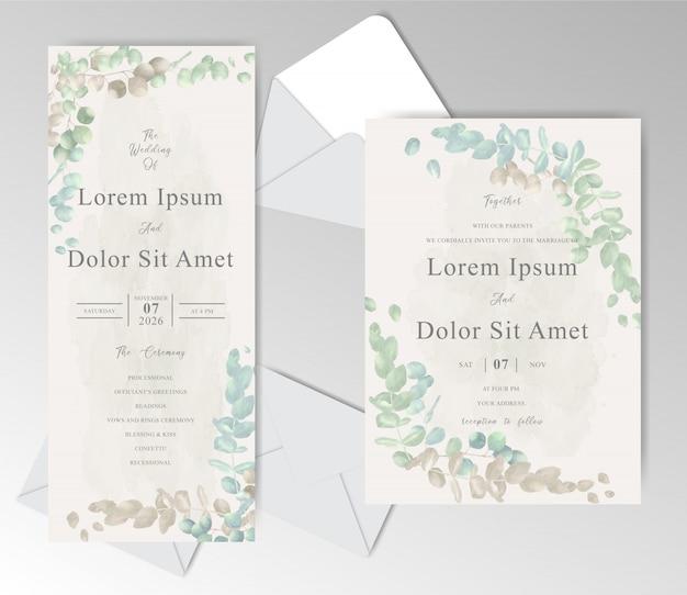 美しいユーカリとエレガントな水彩結婚式招待状