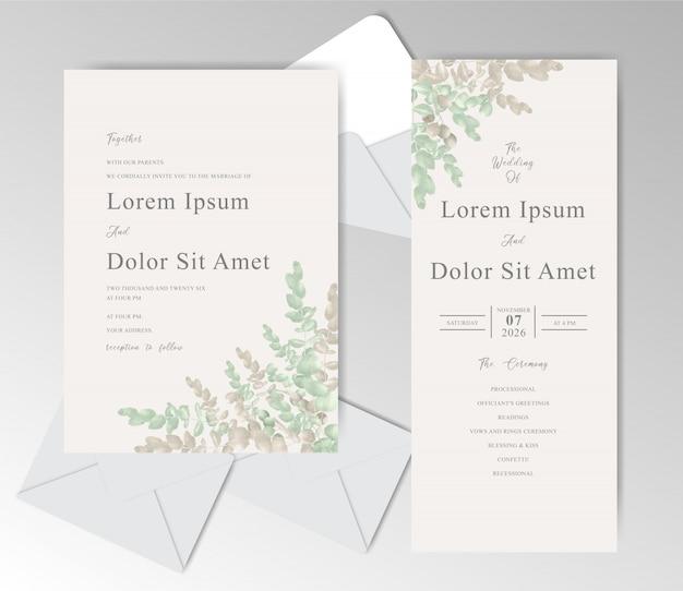 아름다운 유칼립투스와 우아한 수채화 결혼식 초대 카드