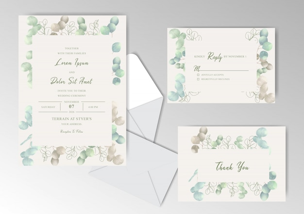 Elegant watercolor wedding invitation cards with beautiful eucalyptus