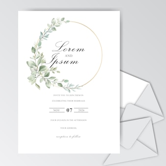 Elegant watercolor wedding invitation cards with beautiful leaves