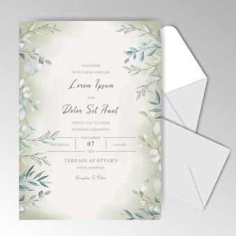 아름다운 잎 우아한 수채화 결혼식 초대 카드