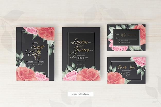 손으로 그린 꽃과 잎 우아한 수채화 청첩장 세트 템플릿