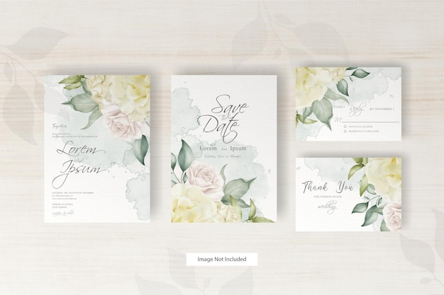 Elegant watercolor wedding invitation set template with hand drawn floral and leaves