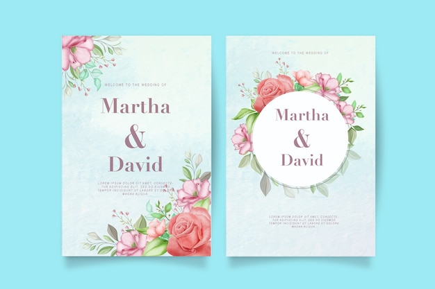 Elegant watercolor wedding invitation set with flower and leaves