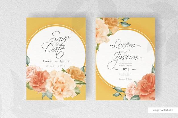 美しい花と葉のアレンジメントとエレガントな水彩の結婚式の招待状の文房具