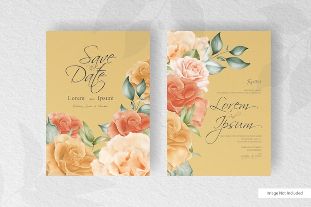 Elegant watercolor wedding invitation stationery with beautiful flower and leaves arrangement