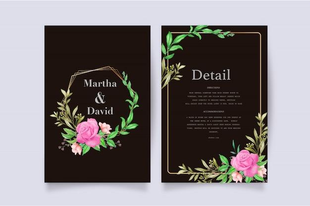 우아한 수채화 결혼식 초대장 서식 파일