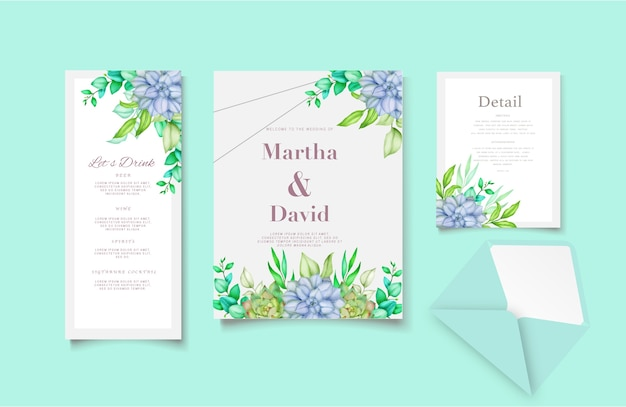 Элегантный акварельный шаблон свадебного приглашения