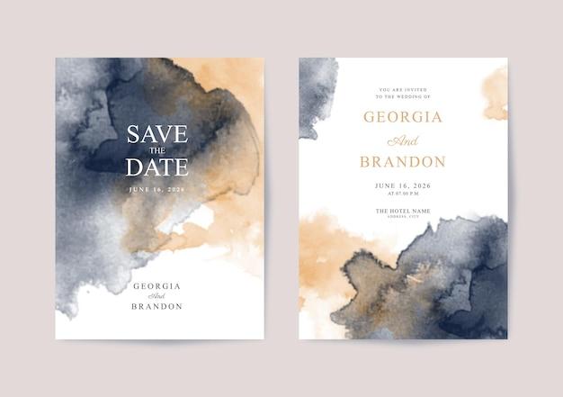 エレガントな水彩画の結婚式の招待状のテンプレート